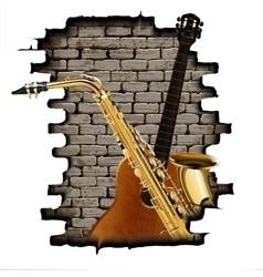 guitar and saxophone in the opening wall vector image vector image