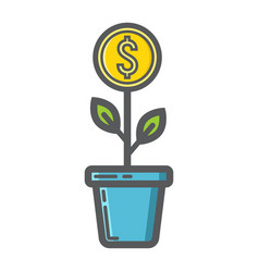 investment growth filled outline icon business vector image vector image