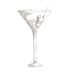 martini with olives sketch icon vector image