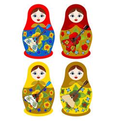 nesting dolls with a balalaika vector image vector image