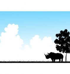 rhino clouds vector image vector image