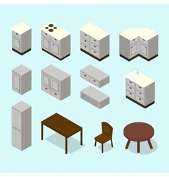 isometric kitchen furniture set vector image