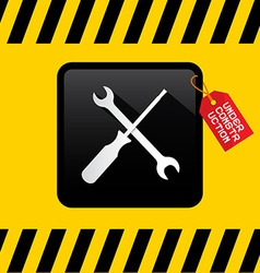 Under Construction Title on Red Label with Spanner vector image