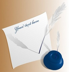 feather ink pen vector image vector image