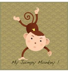monkey on decorative card vector image