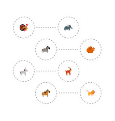 set of animal icons flat style symbols with turkey vector image vector image