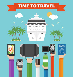 Time to travel flat background with hand modern ve vector