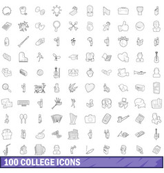 100 college icons set outline style vector image