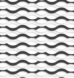 3D overlapping black and white waves vector image