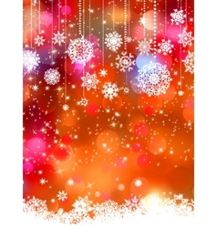 Abstract orange winter with snowflakes EPS 8 vector