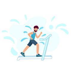 An adult male runs on a treadmill and sweats man vector
