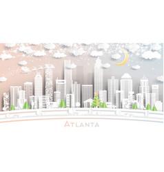 Atlanta georgia city skyline in paper cut style vector