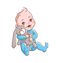 baboy cute infant hugging rabbit toy vector image