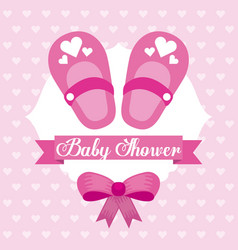 Baby shower card girl shoe bow celebration vector