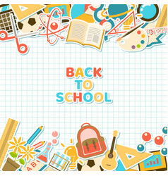 Back to school stickers on grid paper vector