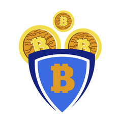 bitcoin or gold coins with bit symbol vector image