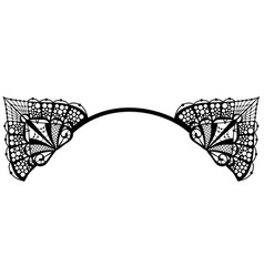 Black decorative cat ears isolated on white vector