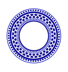 Blue and white round pattern vector