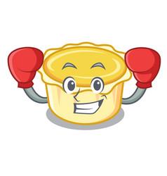 Boxing egg tart character cartoon vector