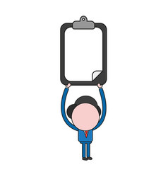 Businessman character holding up clipboard with vector