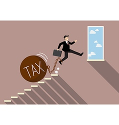 Businessman jumping to success with heavy tax vector