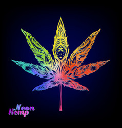 cannabis leaf decorated with original modern vector image