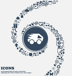 Car icon in the center around the many beautiful vector