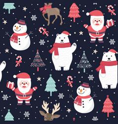 christmas seamless pattern with santa and polar vector image