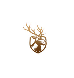 creative brown deer head shield logo vector image