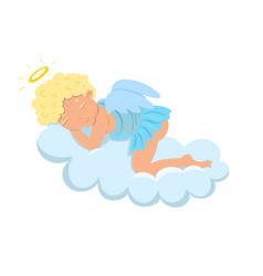 Cupid sleeps on a cloud isolate on a white vector