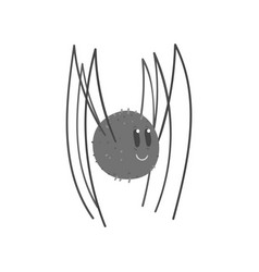 Cute cartoon black spider character vector