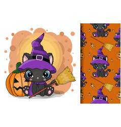cute halloween cartoon cat with pumpkin on a vector image