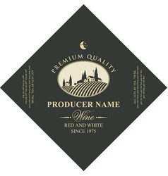 diamond shaped wine label with rural landscape vector image
