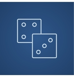 Dices line icon vector