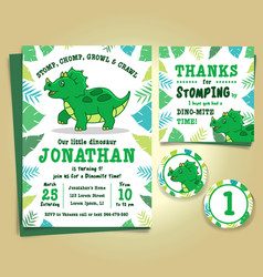 Dinosaur birthday party invitation vector