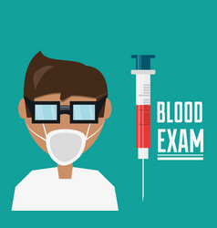 doctor with glasses and mask with syringe to blood vector image