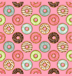 Donuts seamless pattern on pink background vector