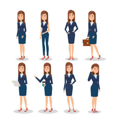 Elegant business woman in different pose vector