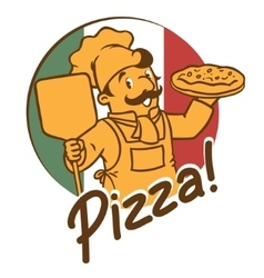 Emblem of funny cook or chef o baker with pizza vector
