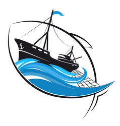 Fishing vessel and fish profile vector