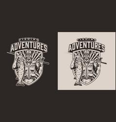 Fishing vintage logotype vector