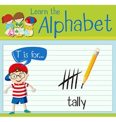 Flashcard letter T is for tally vector image