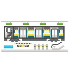 Flat design subway train interior vector image