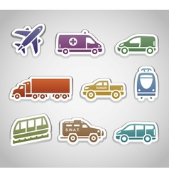 flat retro color stickers - set seven vector image