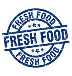 Fresh food blue round grunge stamp vector
