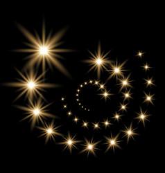 glittering flying stars golden color vector image