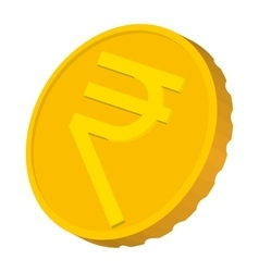 Gold coin with Rupee sign icon cartoon style vector