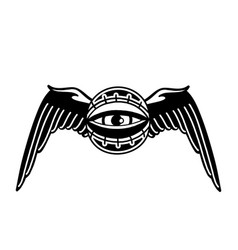 graphic winged all-seeing eye vector image