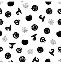 halloween pattern with pot vector image