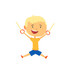 Happy boy hanging on gymnastic rings kids vector